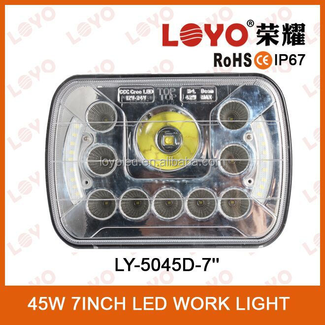 2015 Newest popular HI-Low beam h4 led work light 45w,super bright and cool deisgn offroad driving lights