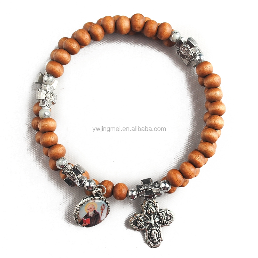 6mm Round wooden beads with Miraculous Cross beads wrapped bracelet with Saint Benedict Medal and Cross