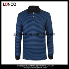 latest Design custom logo Blank Plain 210gsm 100%cotton polo collar mens long sleeves striped polo t shirt