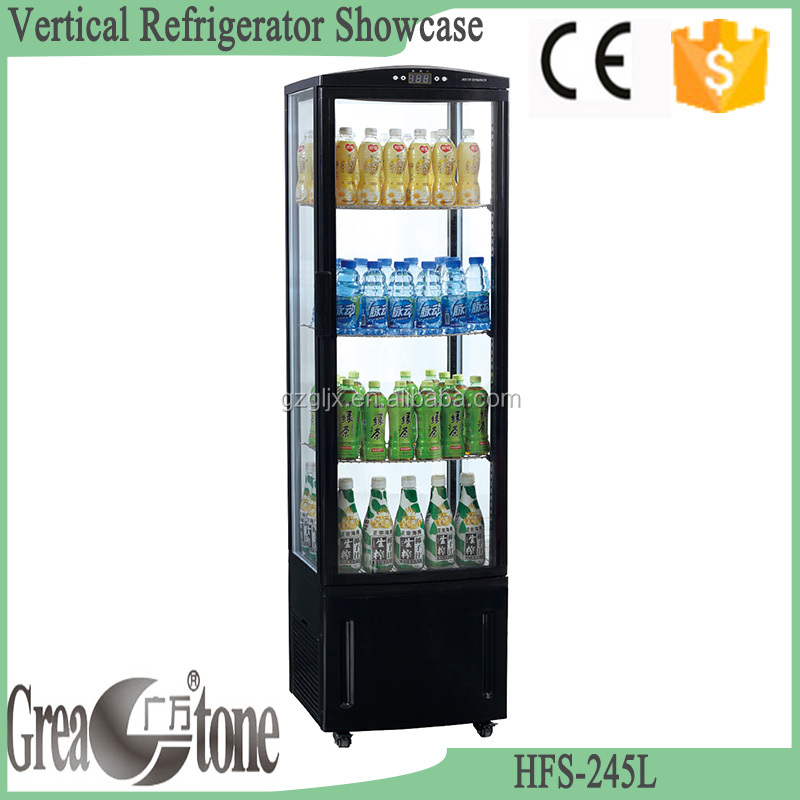 Hot selling Upright glass door display beverage refrigerator showcase