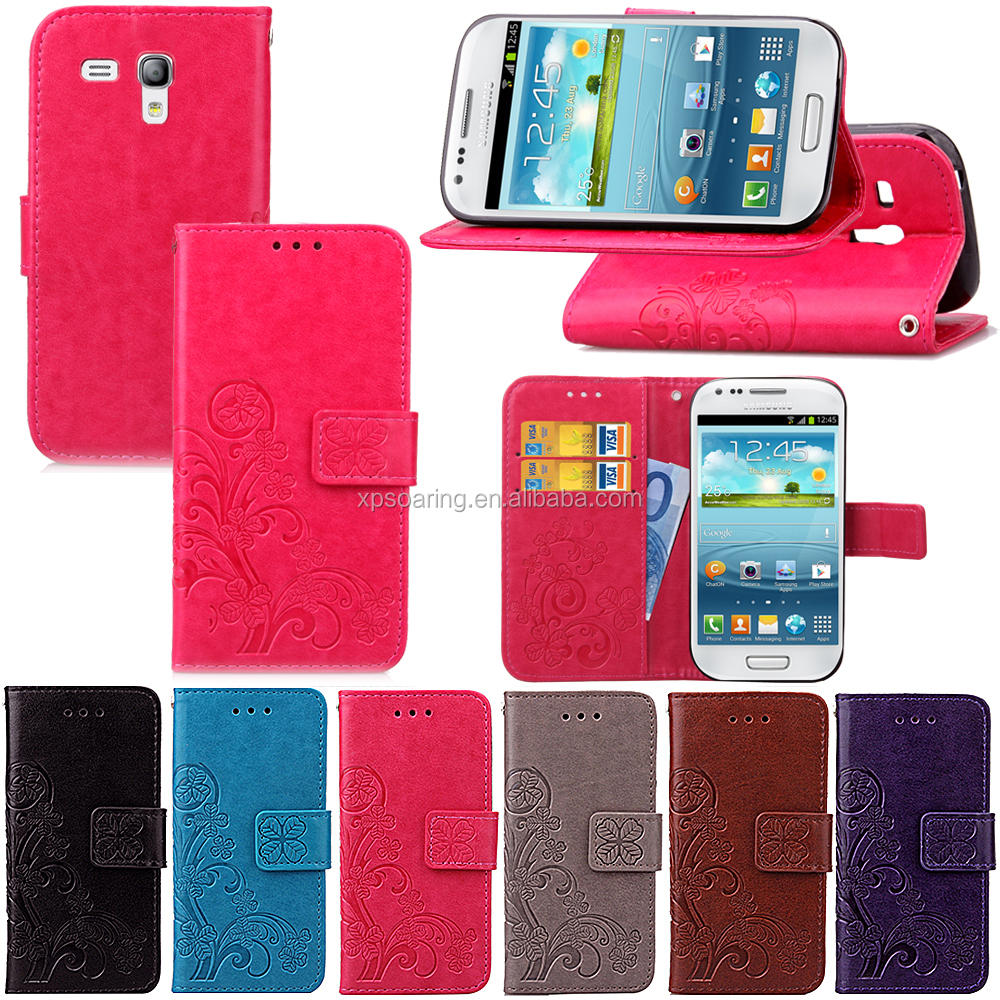 Beautiful Clover wallet PU case pouch for Samsung Galaxy S3 mini 8190