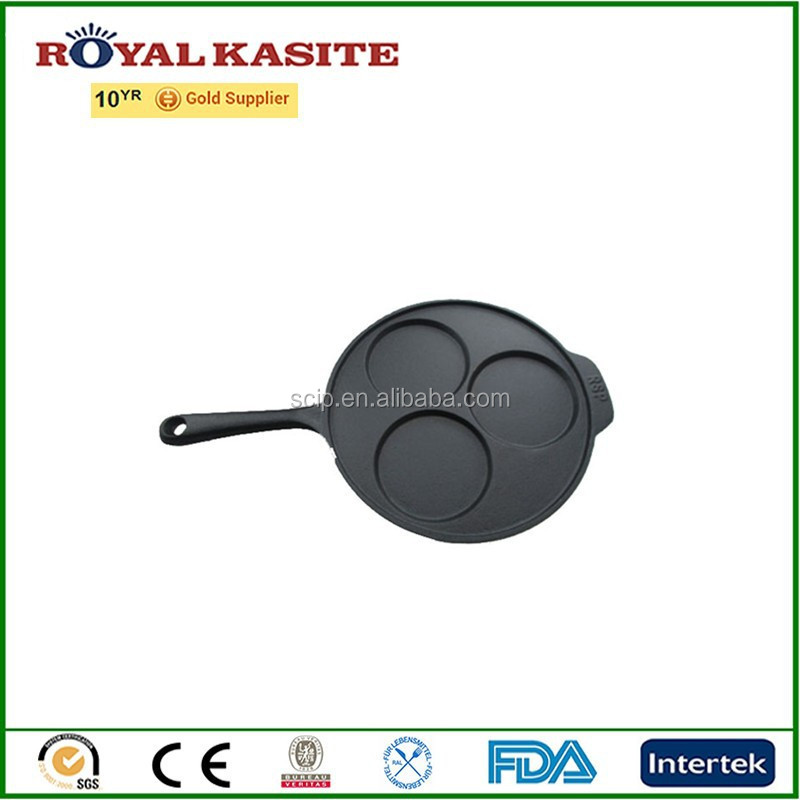 new design cast iron pancakes pan, three pancakes iron frying pan, casting cast iron bakeware pans