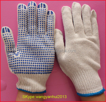 Slip resistance pvc dotted cotton gloves