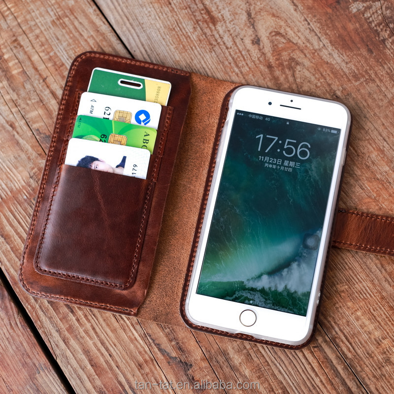 OEM Custom Logo Genuine Leather Mobile Phone Wallet Covers