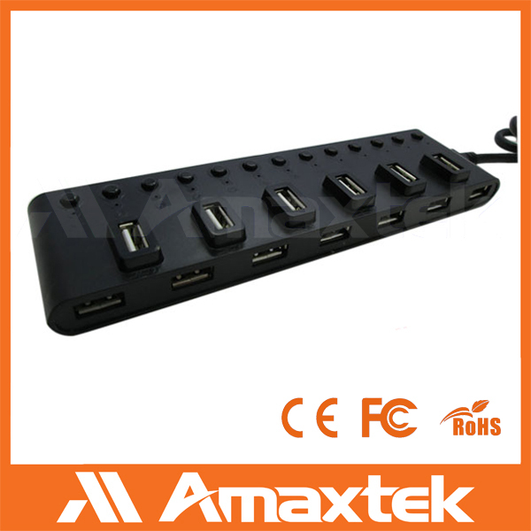 Custom high quality low price usb 2.0 13 pot hub