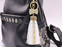 Stylish Bowknot Rhinestone Leather Tassels Keychain Cell Phone Accessories Keychain