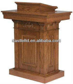 Pedestal Lectern, Podium, Pulpit,Brown all-StaiNed wooden carved church door Pulpit with one shelf