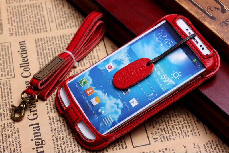 For samsung galaxy S4 I9500 leather pouch cover cas