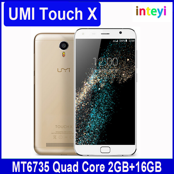 Original Umi Touch X Phone 4G LTE Android 6.0 Mobile Phone MTK6735A Quad Core Smartphone 2GB+16GB 5.5inch 1920*1080 8MP 4000mAh