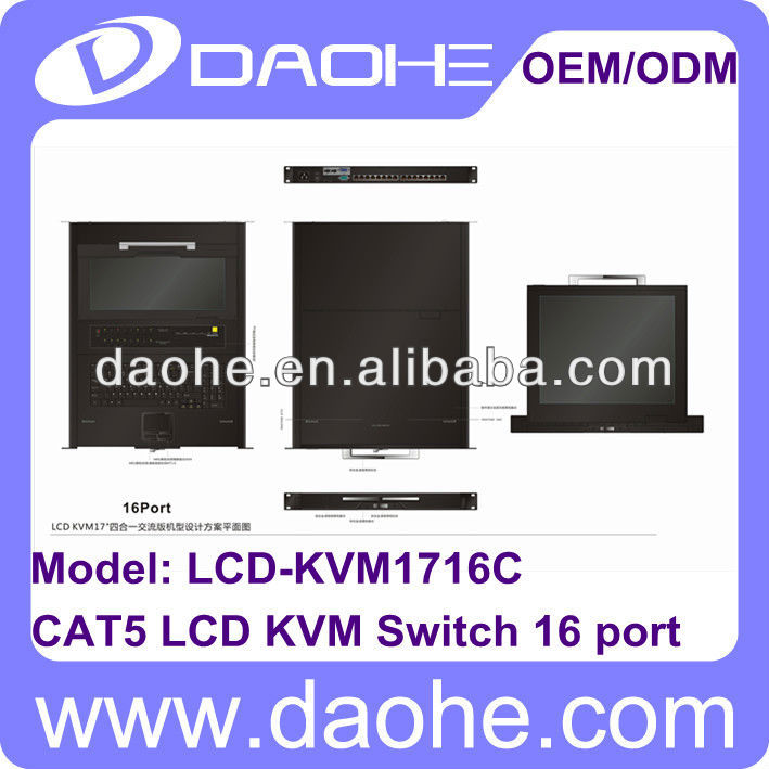 17 inch LCD CAT5 16 port KVM Console