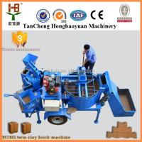 Hydraulic clay Color Block/brick making machine for diesel engine works M7MI soll brick making for sale