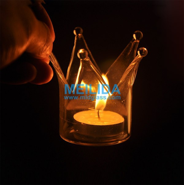New design crown shaped glass tealight holder for decoration