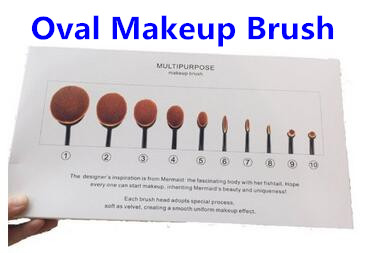 10pcs/set Tooth Brush Shape Oval Makeup Brush Set Professional Foundation Powder Brush Kits with Box