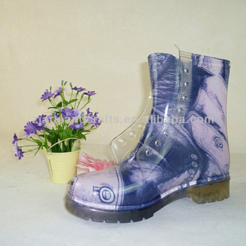 Waterproof tie shoelace print martin pvc transparent rain boots