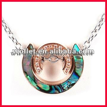 Stainless Steel Paua Shell CZ Stone Pendant