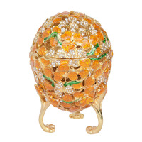 Gold Faberge Egg Jewelry Box Crystal