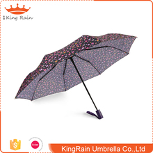 Popular style coating plastic handle auto open close 3 fold different kinds of umbrellas