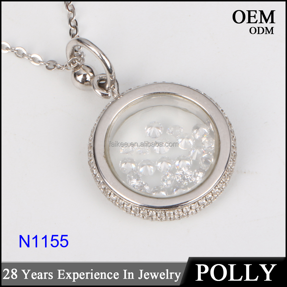 crystal necklace factory jewelry supply fashion s925 sterling silver pendant