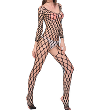 Fishnet Open Crotch spandex body stocking Crotchless Sexy see through Black Lingerie for women