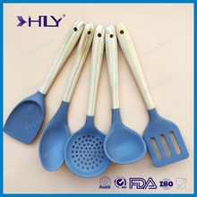 Wood Handle Silicone Kitchen Cooking Utensil Set