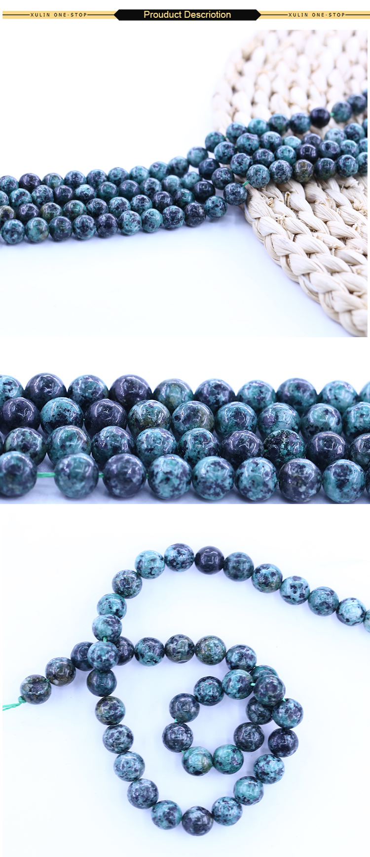 XULIN Natural Gemstone Loose Beads Smooth African Turquoise For DIY Handmade