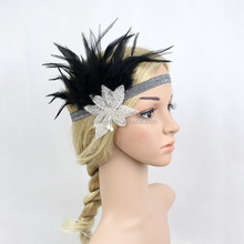 Black & Silver Feather Vintage Headpiece 1920s Great Gatsby Flapper Headband