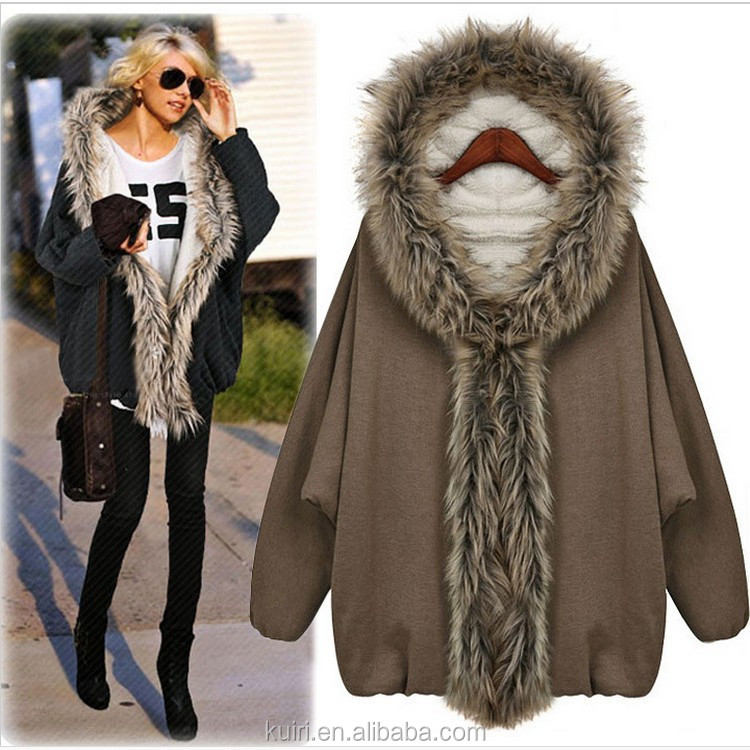 Wholesale Fashion Women Fake Fur Coats with Raccon fur collar europe style lady overcoat with hoods