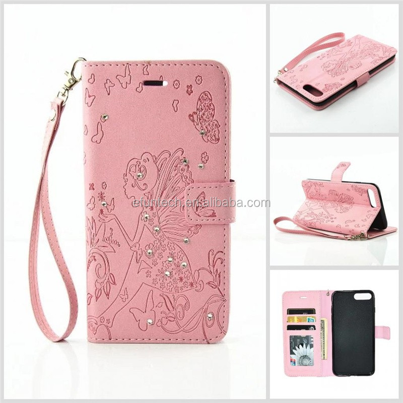 Angel fairy pattern smartphone phone case for iphone 7 7plus with hand strap and card slots