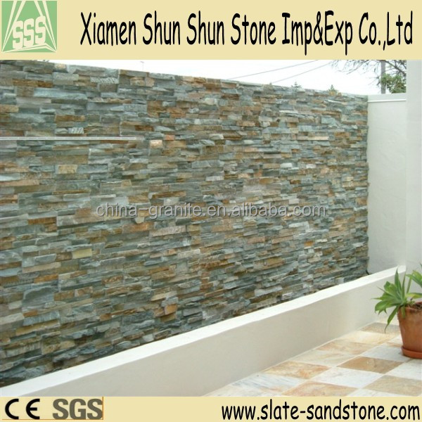 New type cheap natural gre color outdoor split face colorful quartz stone coated roof stone tile for wall cladding
