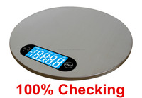 Round digital kitchen scale stainless Steel 5kgs/1g food postal scale