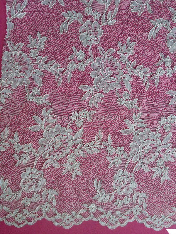 China factory chantilly eyelet jacquard lace fabric wholesale SAY055