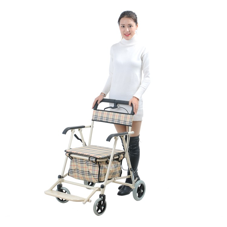 metal folding shopping cart with seat