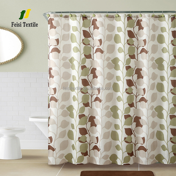 Line leaf pattern jacquard printed 180*180cm waterproof bathroom fabric shower curtain for home hotel bathroom