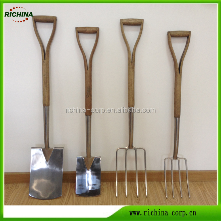 Garden Tools,Stainless steel head, Spade, Fork, FSC ash wood handle