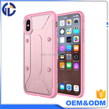 New Hot High Quality Phone Accessories 2 in 1 Clear Transparent Acrylic Back Cover Tpu Bumper Case For IPhone X Case