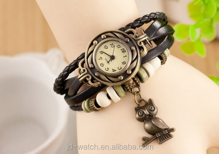 Fashion Women Casual Leather Weave Wrap Owl Charm Bracelet Watches