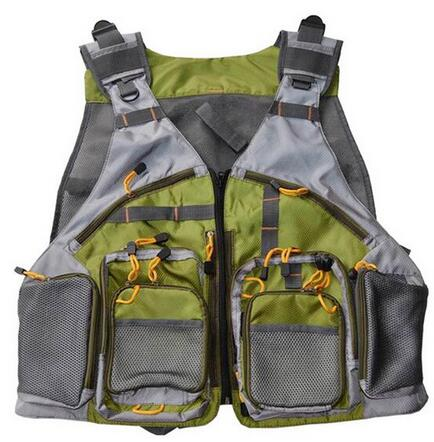 New One Size Top Quality Mesh Fly Fishing Vest Fishing Back Multifunction Pockets Outdoor Fishing Backpack Vest Green