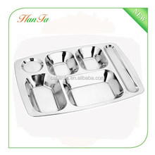 stainless steel fast food plate / canteen serving tray food divider plate
