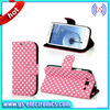 Cheap Polka Dot Pattern Leather Case For Samsung Galaxy Note 2/3 S3/S4 Flip Wallet Stand Case
