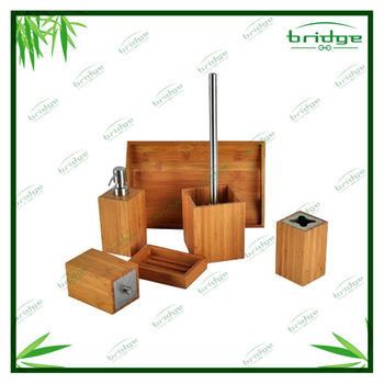 6 pc Bamboo bathroom set
