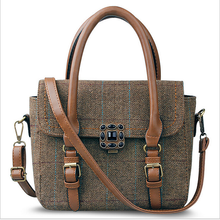2016 Fashion genuine leather Woman canvas Handbag direct From leather Handbag