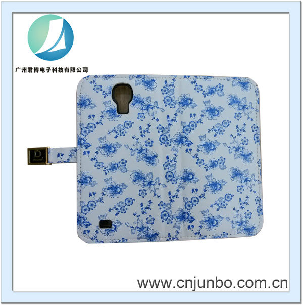 Sinicism blue and white porcelain metal button leather case for samsung S4