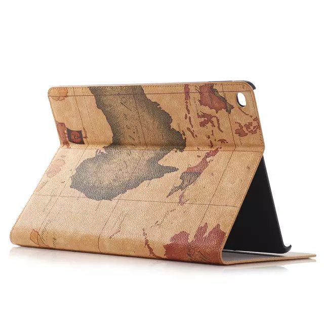 Shenzhen Hot selling World Map Wallet PU Leather Case for iPad Air 2