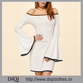 New designs stylish casual women White Contrast Binding Bell Sleeve Off The Shoulder Dress