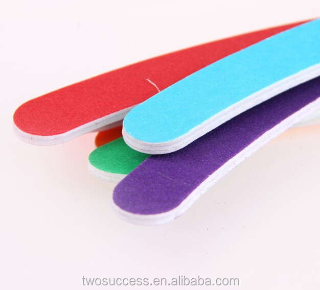 High Quality Candy Color Double Sided Meniscus Nail File For Beauty Nail Tool