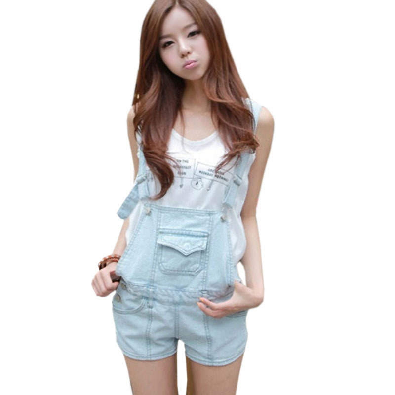 2015 New Summer Denim Womens Short Rompers Female Casual Jeans Jumpsuit Pants Plus Size Light Blue Overalls For Women S-XL