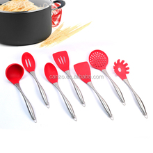 High quality 7-Piece Silicone Kitchen Utensils With Stainless Steel Handle Of Cooking utensils With FDA LFGB Certification