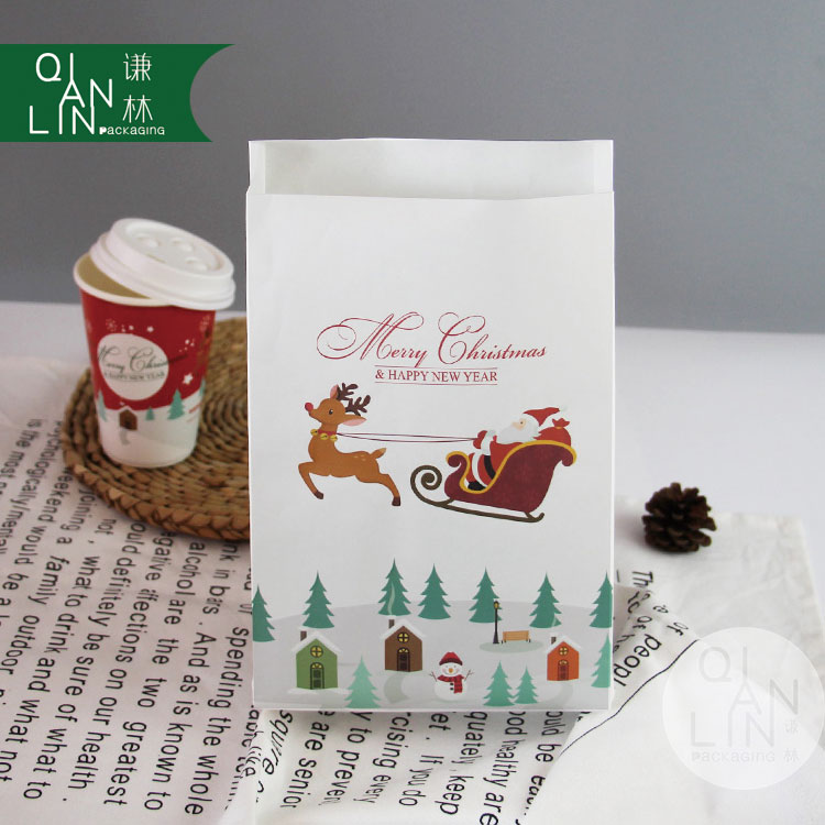 Hot Sale Machine Made Cheaper Price Christmas White Kraft Paper Food Bag