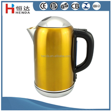 CE/GS/ROHS/LFGB/BSCI /ETL/CETL aprroved 1.8L Yellow Color Stainle Steel Cordless Electric Water Kettle / HDK-200A-Y