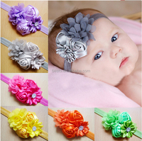 Fancy chic Newborn baby elastic rose fabric flower headband for girl
